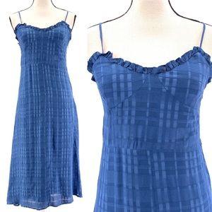Anthropologie Current Air Blue Plaid Midi Dress